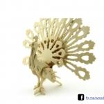 ตัวต่อไม้ 3 มิติ จิ้กซอว์ไม้ ตัวต่อไม้นกยูง3D Animal Puzzle