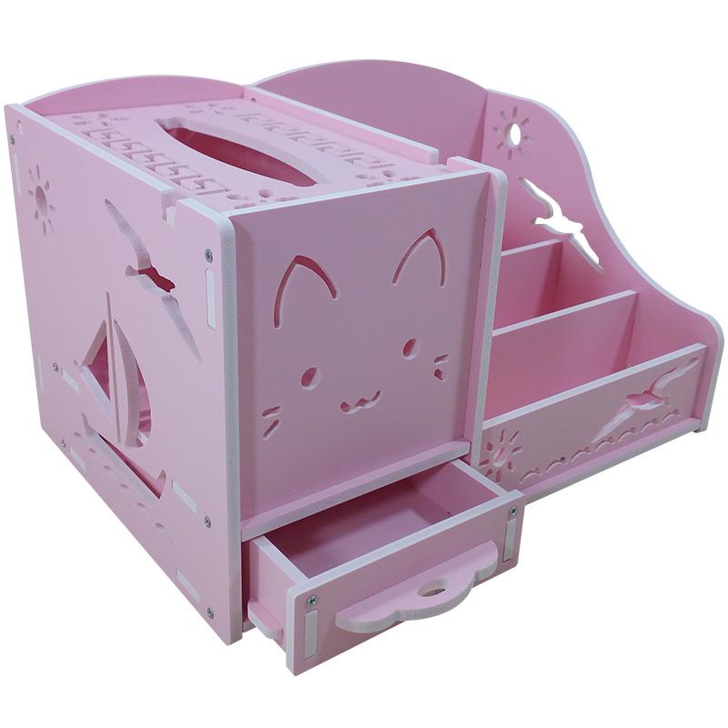ชั้นวางรีโมท ลายแมวสีชมพู (มีที่ใส่ทิชชู่)