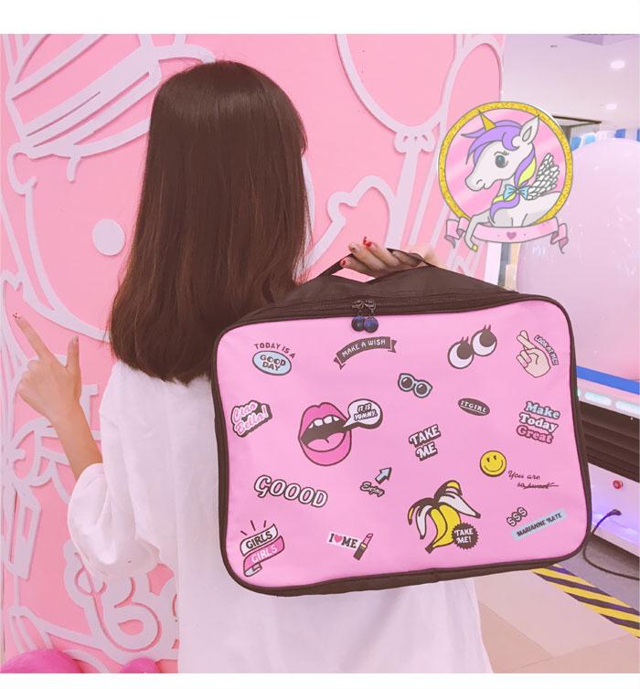 กระเป๋าใส่ของ สำหรับเดินทาง สีชมพู