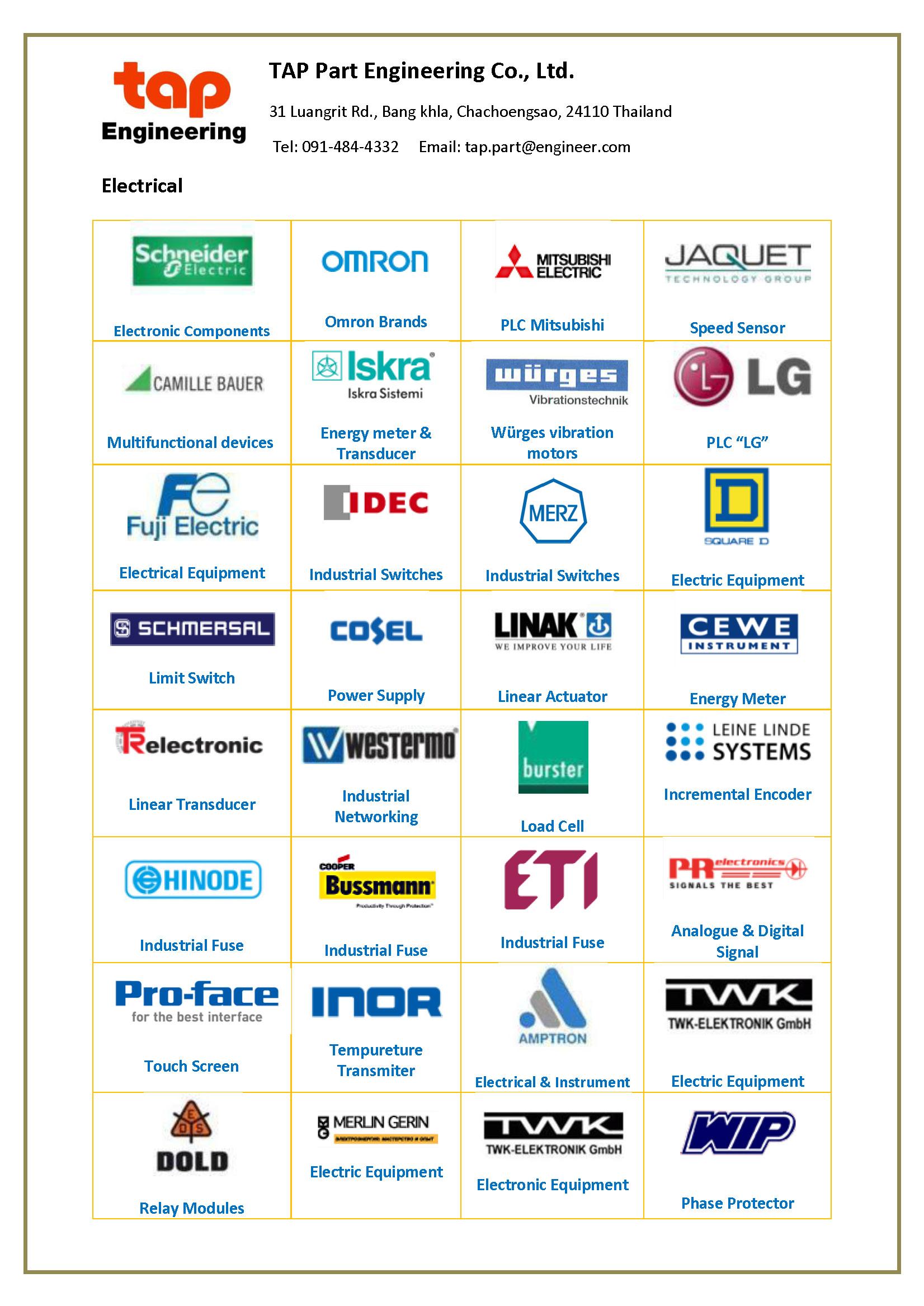 TAP Part Engineering Co , Ltd  นำเข้าสินค้าจากผู้ผลิตต่าง