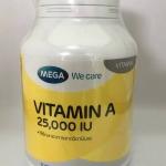 Mega vitaminA 25000 iu เมก้า วีแคร์ วิตามินเอ