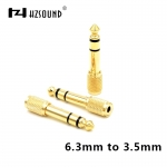 HZSOUND Gold Plug Audio Jack Headphone Adapter Stereo 6.3mm Male To 3.5mm