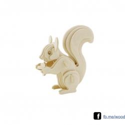 ตัวต่อไม้ 3 มิติ จิ้กซอว์ไม้ ตัวต่อไม้คุณกระรอก 3D Animal Puzzle