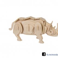 ตัวต่อไม้ 3 มิติ จิ้กซอว์ไม้ ตัวต่อไม้คุณแรด 3D Animal Puzzle