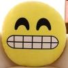 หมอนอิงตุ๊กตา อิโมจิ หลับตายิ้มเห็นฟัน ทรงกลม สีเหลือง