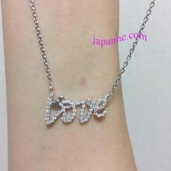 ลาย Tiffany สร้อยคอผู้หญิงเงินแท้ 925 ชุบทองคำขาว สุดหรู ดูแพง สวยมากๆ สร้อยยาว16 นิ้ว+2ปรับเลื่อนได้อีก2นิ้ว จี้เงินแท้ Love 1.2 x 2.1 ซม ฝังเพชร CZแวววาว เหมือนเเพชรแท้มากๆ