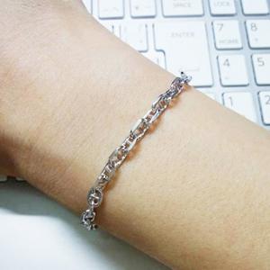 สร้อยข้อมือผู้หญิงเงินแท้ ชุบทองขาว แอร์เมส chaine d ancre ขนาด 3.8มิล ยาว 6.5นิ้ว สวยหรู ดูแพงมาก